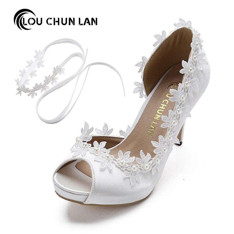 LOU CHUN LAN Official Store Shoes Women Pumps Peep toe Open toe lace wedding shoes silk stain appliques size 41