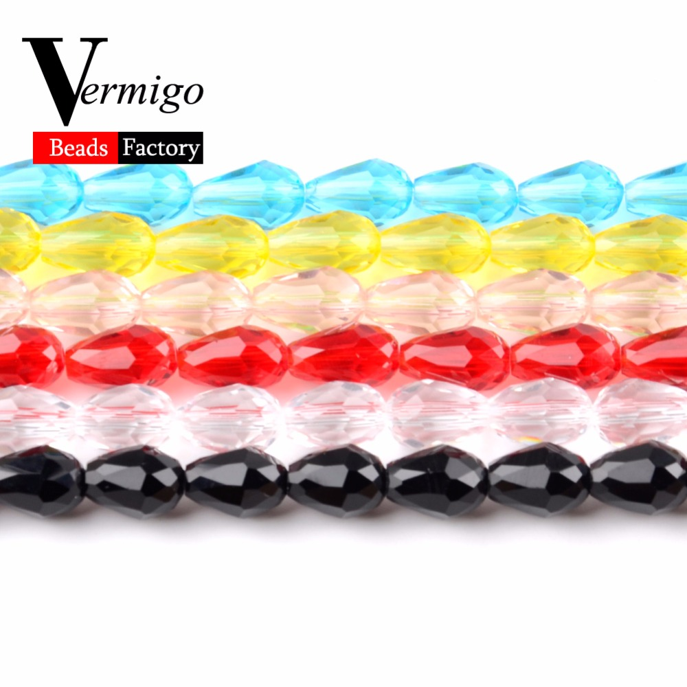 Free Shipping 60pcs 8 11mm Faceted Clear Teardrop Beads For Needlework Jewelry Making Austrian Crystal Loose Beads Diy Bracelet in Beads from Jewelry Accessories