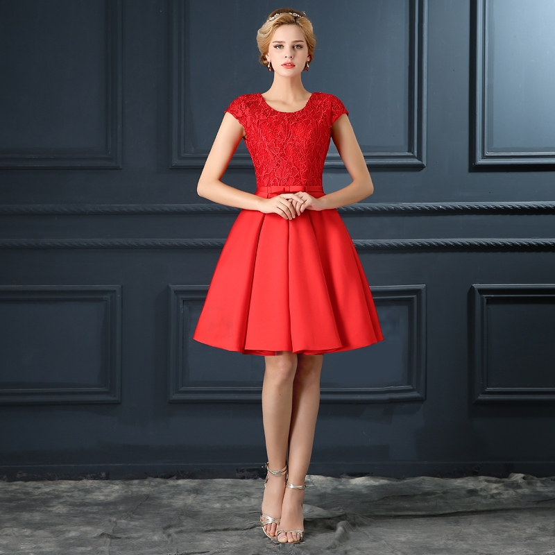 Red Cocktail Dress with Sleeves
