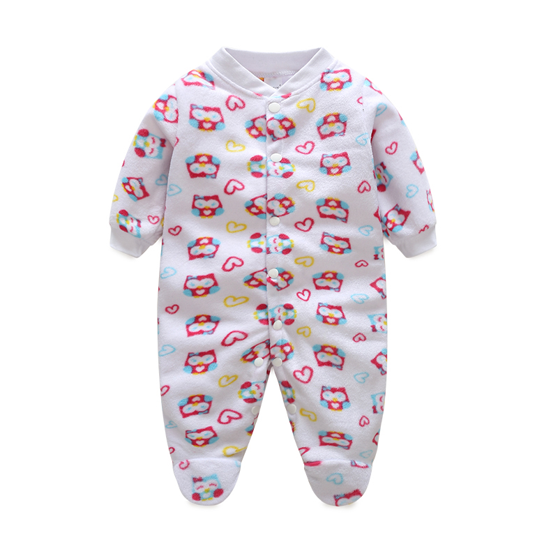 newborn clothing baby boy girl footies fleece one piece long sleeve overall infant sleepwear. Black Bedroom Furniture Sets. Home Design Ideas
