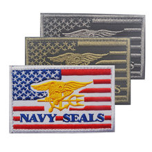 NAVY SEALS Tactical Morale Patch American Flag Military Combat Badge 8*5cm 3D Embroidered Applique For Jackets Jeans Backpack(China)