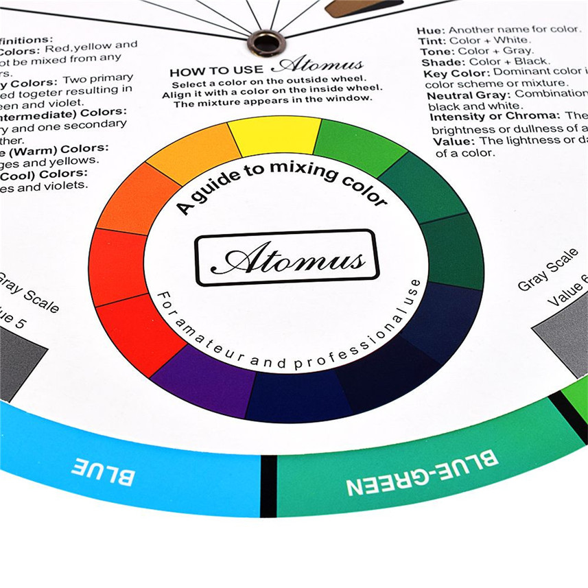 Atomus New Brand Artists Color Wheel Mixing Guide 23 5cm Diameter
