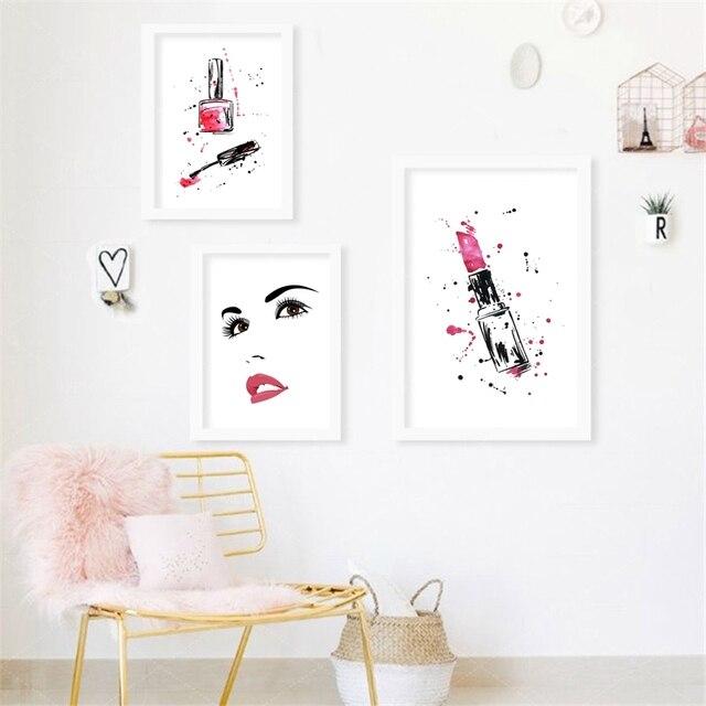 Portrait Of Beautiful Woman Canvas Art Print Poster Makeup