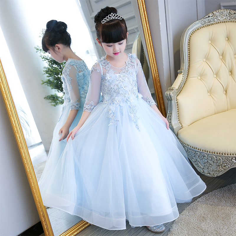 2017 New High Quality Children Girls European Luxury Princess Lace Dress Hand-Made Flowers Birthday Party Long Ball Gown Dress just couture just couture ju663aweyu69