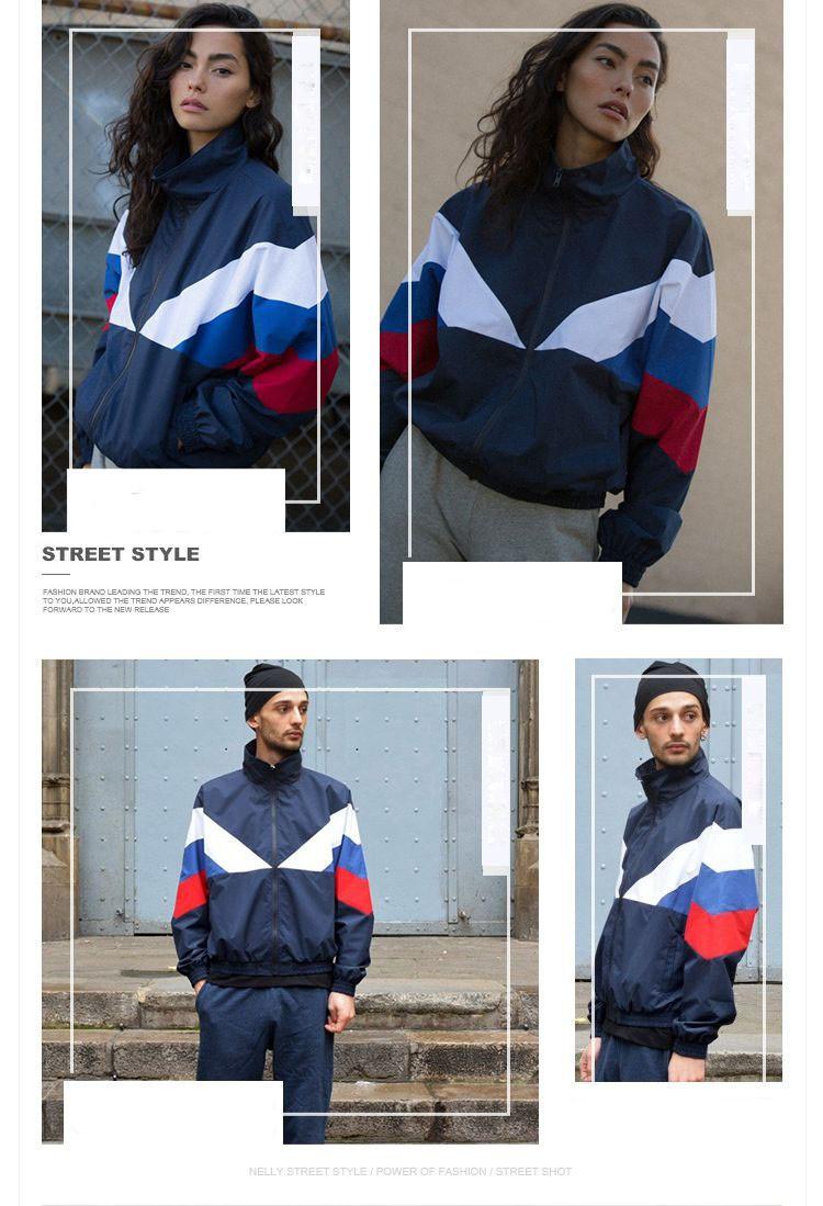 Men Jacket Gosha Rubchinskiy Classic Navy Tricolor Sport Long sleeve Windbreaker Jackets Hiphop Skateboards Couples Outwear S-XL (9)