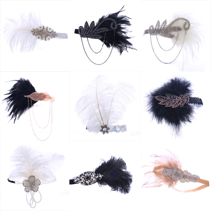 Vintage Black White Feather Hair Accessories Rhinestone Beaded Sequin Hair Band 1920s Gatsby Party Headpiece Women Headband цена 2017