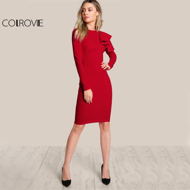 3b9ea8e3076f COLROVIE Red OL Elegant Bodycon Dress Women One Side Tiered Ruffle Cute  Long Sleeve Dress Autumn