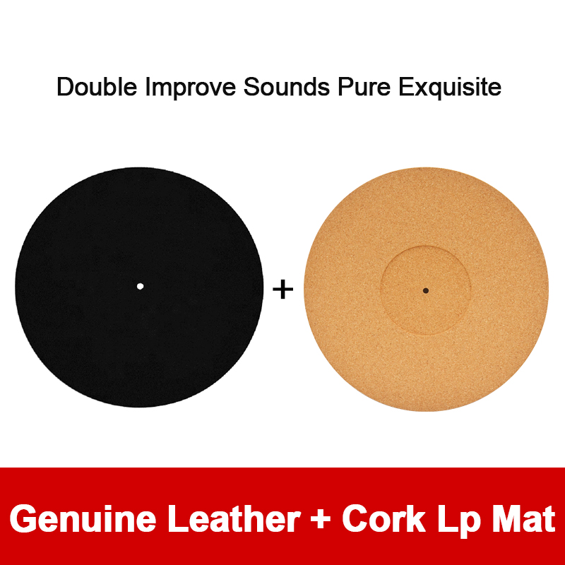 12'' Black Leather LP Mat + Cork Turntable LP Mat Hide In The Sound