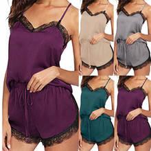 Сексуальная Женская пижама, удобная, без рукавов, на бретельках, Ночная одежда, кружевная отделка, сатин, топы для сна, комплекты, женская одежда для сна, пижама 661SW10