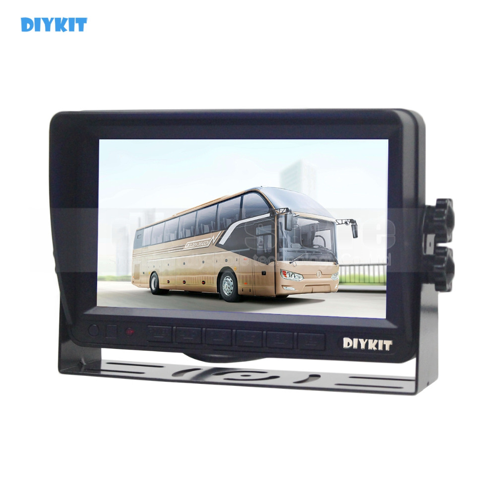 DIYKIT AHD 7inch TFT LCD Car Monitor Rear View Monitor Support 1080P AHD Camera with 2 x 4PIN Video Input