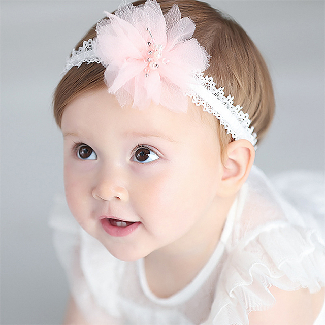 Tiny Baby Girl White Lace Headbands for Photography Props Infant Pink Hair  Band Baby Pink Headwear 42359e6da6e