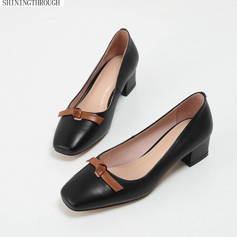 3eed02bfcbb69b D'été Femmes Cuir Vache 2019 Talons noir De Dames Carré S'habillent  Chaussures Printemps En ...