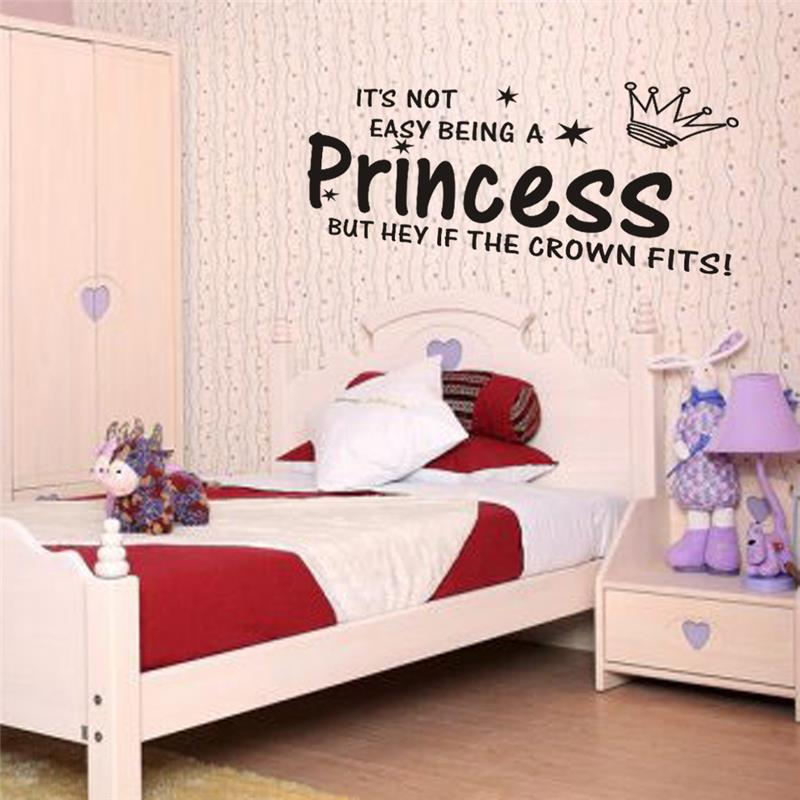 % Princess Crown Quotes Wall Stickers Home Decorations For Living Room Girl Room Diy Home Decals