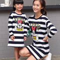 2016 Family Minnie&Mickey Clothes Matching Mother And Daughter Set Cotton Long-Sleeve T-Shirts Striped Mother Daughter Dress