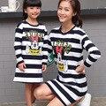 2016 Minnie & Mickey Juego de Ropa Madre E Hija Familia Conjunto de Algodón de Manga Larga Camisetas de Rayas Vestido de Madre E Hija