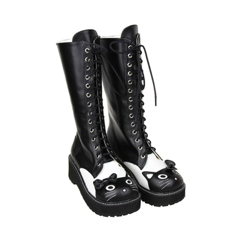Chaton La Nouveau Tête D'animation Chaussures marron Douce Punk Princesse Du Cos Fond Pu8499 Chute Pente Noir Épais Avec Lolita Plate forme AfxtawYq
