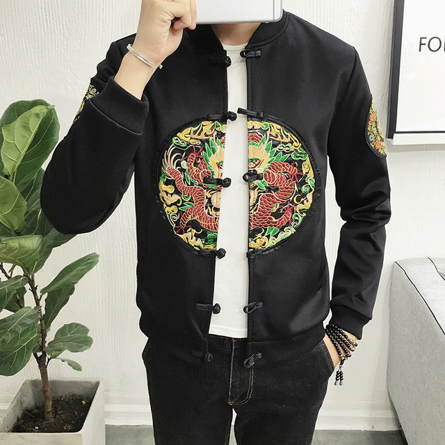 2017 Rushed Cotton Short Casual Mens Jackets And Coats New Winter Japanese  Retro Wind Embroidered Robes