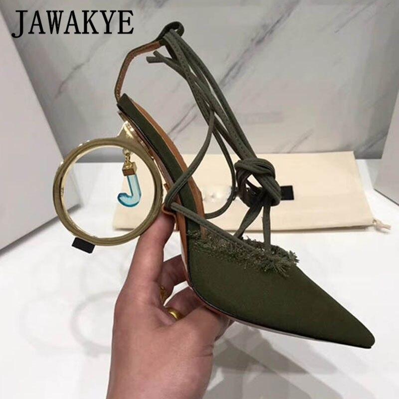 Bout pointu en métal étrange talon sandales femme en cuir véritable cheville croix cravate chaussures à talons hauts t show party stilettos pour dames