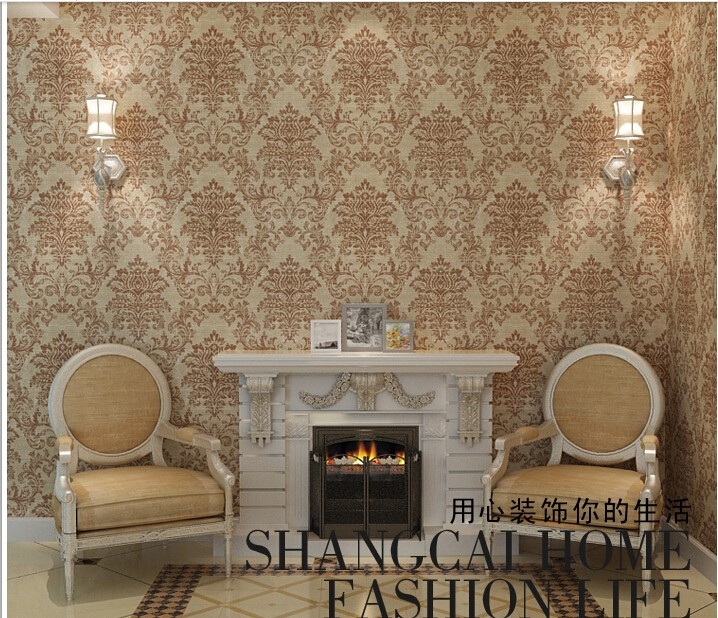 New 10m*53cm art workshop European non-woven wallpaper Damascus and gold wall-to-wall bedroom living room TV setting wall paper european non woven wallpaper wall stickers bedroom living room tv setting wall paper wallpaper the sand classic stripes european