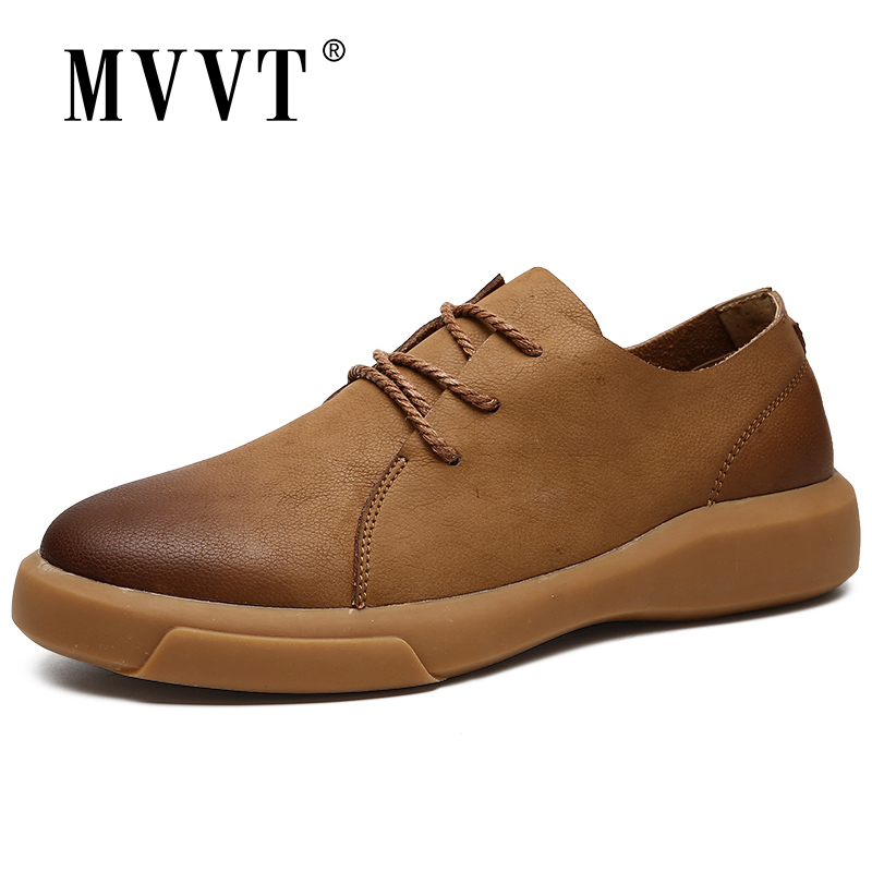 MVVT Comfortable Genuine Leather Men Shoes Quality Lace Up Casual Men Leather Loafers Soft Men Flats Hot Sale Moccasins Shoes
