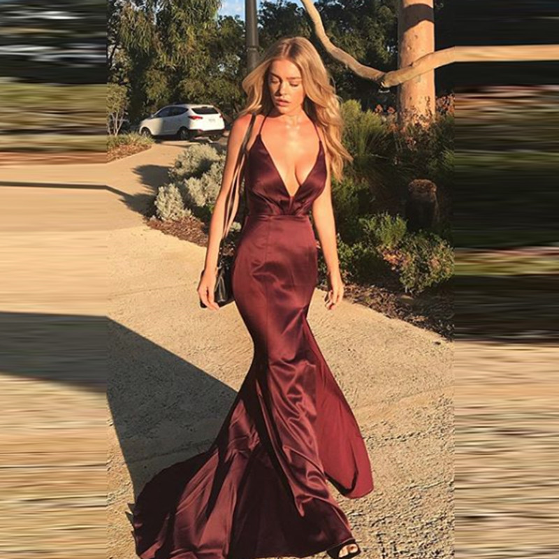 Sexy Halter Mermaid Evening Dresses Long Satin Elegant Side Split Formal Party Gowns Evening Gowns Robe De Soiree Beautiful Gown
