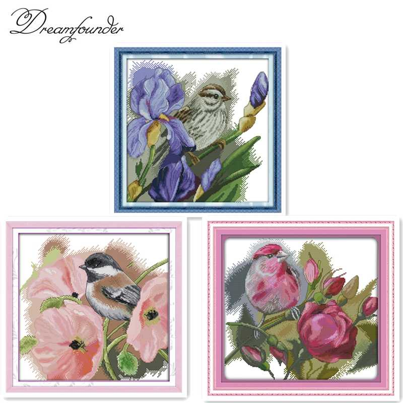 The bird with poppies cross stitch kit pink flower animal 14ct 11ct count printed canvas embroidery DIY handmade needlework plus