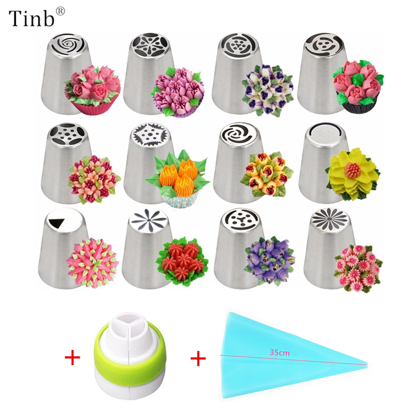 14 teil/satz Russische Tulip Icing Friedliche Düsen Edelstahl Blume Creme Gebäck Tipps Düsen Tasche Cupcake Kuchen Dekorieren Werkzeuge