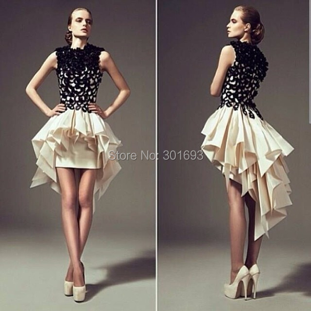 Onp111 Black Lace Cream Tafeta Short Front Long Back Prom Dress In