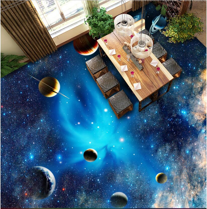 3d pvc flooring custom photo self adhesive the sky star for Adhesive decoration