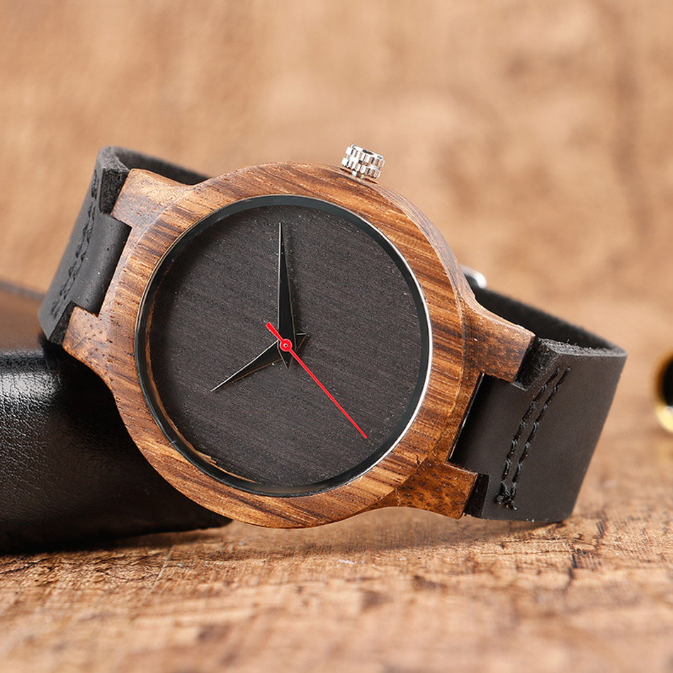 Creative Wood Watch Male Wristwatches Wooden Clock Men's Bamboo Leather Wood Watches Gift relogio de madeira (3)