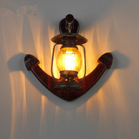 American Loft Wall Light Vintage Industrial Edison Outdoor Wall Lamp Iron&Wood