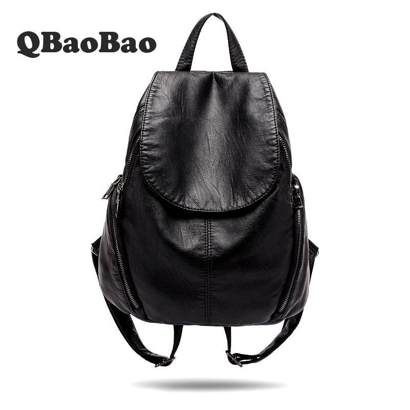 New Design Sheepskin Women Backpack Soft Leather Female Shoulder Bag Travel Bolsa Feminina School Bags europe ladies leather backpack women mochila sheepskin travel bolsa feminina school bags teenage girl backpacks