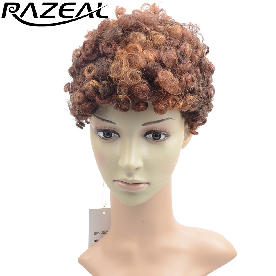 Razeal Ombre Short Kinky Curly Wigs Synthetic None Lace Front Japanese Kanekalon Fiber A ...
