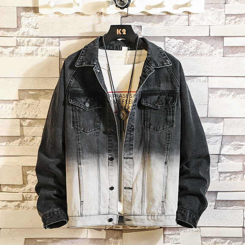 New Mens Denim Jacket Slim fit Gradient color Male Casual Bomber Jackets Long Sleeved Spring Autumn Streetwear Coats
