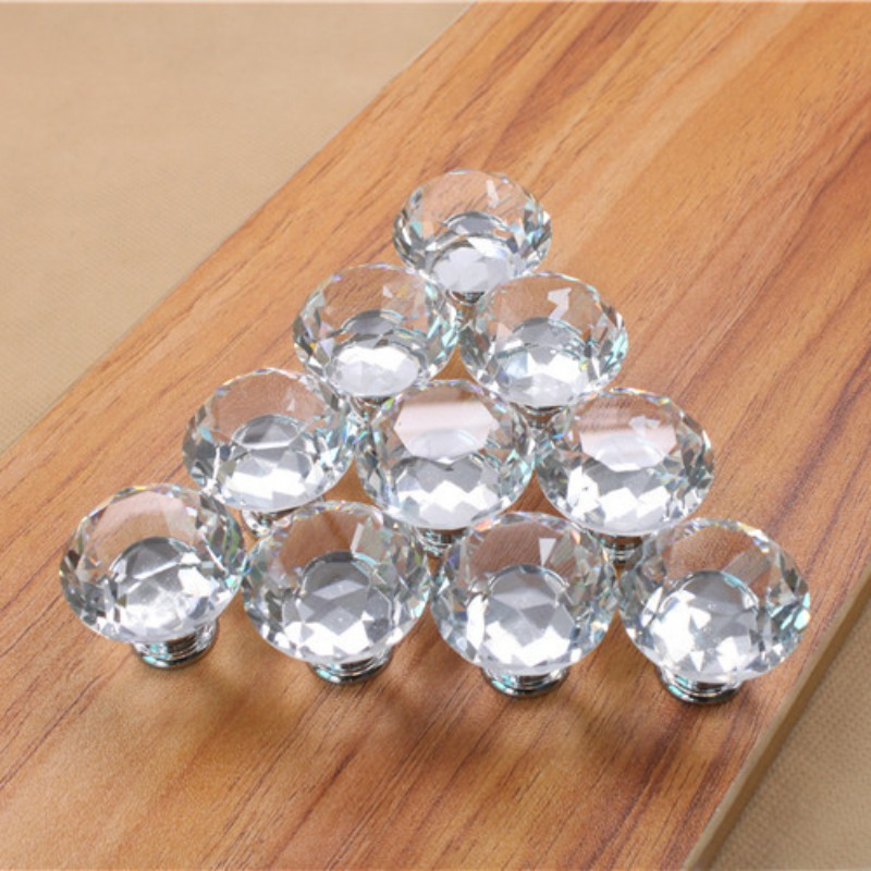 High quality10 pcs Crystal Glass Alloy Door Drawer Cabinet Wardrobe Pull Handle Knobs Drop Worldwide Store css clear crystal glass cabinet drawer door knobs handles 30mm