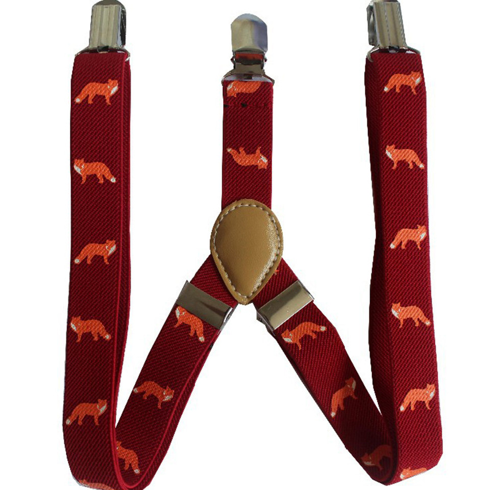 Free Shipping 2018 New Cute Dark Red Fox Animal Print Suspenders For Children Kids