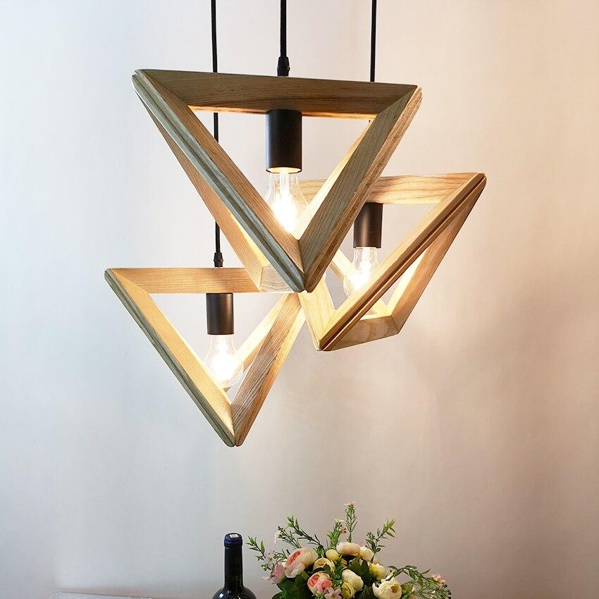 Modern Triangle wood Pendant lights dia 32 36cm geometry shape droplights for restaurant cafe dining room hanglamp light fixture-in Pendant Lights from Lights & Lighting    1