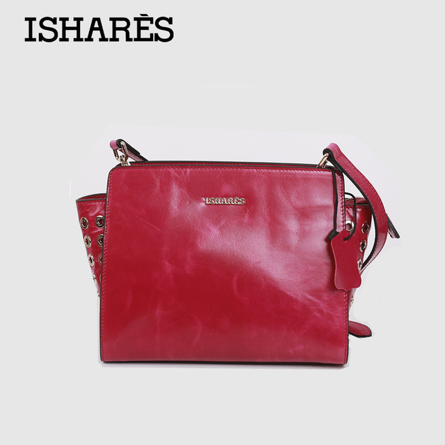 ISHARES 2016 Fashion Casual Ladies's  Crossbody Bag 100% Genuine Leather  Single Shouder Bags Oil Waxing Bag For Women IS8022