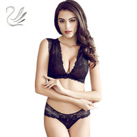 2017 New Vanlo Brand Women Fashion Hollow Transparent Lace Sexy Underwear Vest No Rims Bra Sets