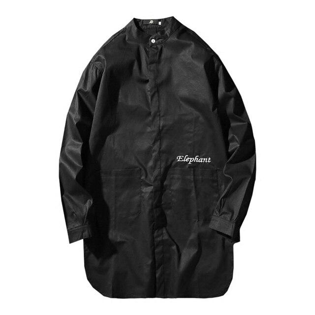 bed1fe90f24547c Корейская мужская рубашка со стоячим воротником мандарин с длинным рукавом  однотонные модные мужские рубашки Большие размеры Повседневна