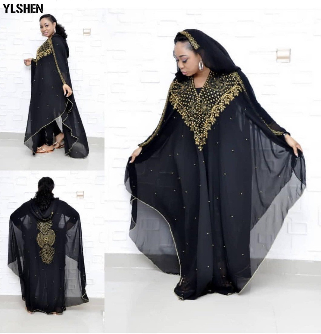 New Style African Dresses For Women Dashiki Diamond Beads African Clothes Abaya Dubai Robe Evening Long Africa Dress Hooded Cape