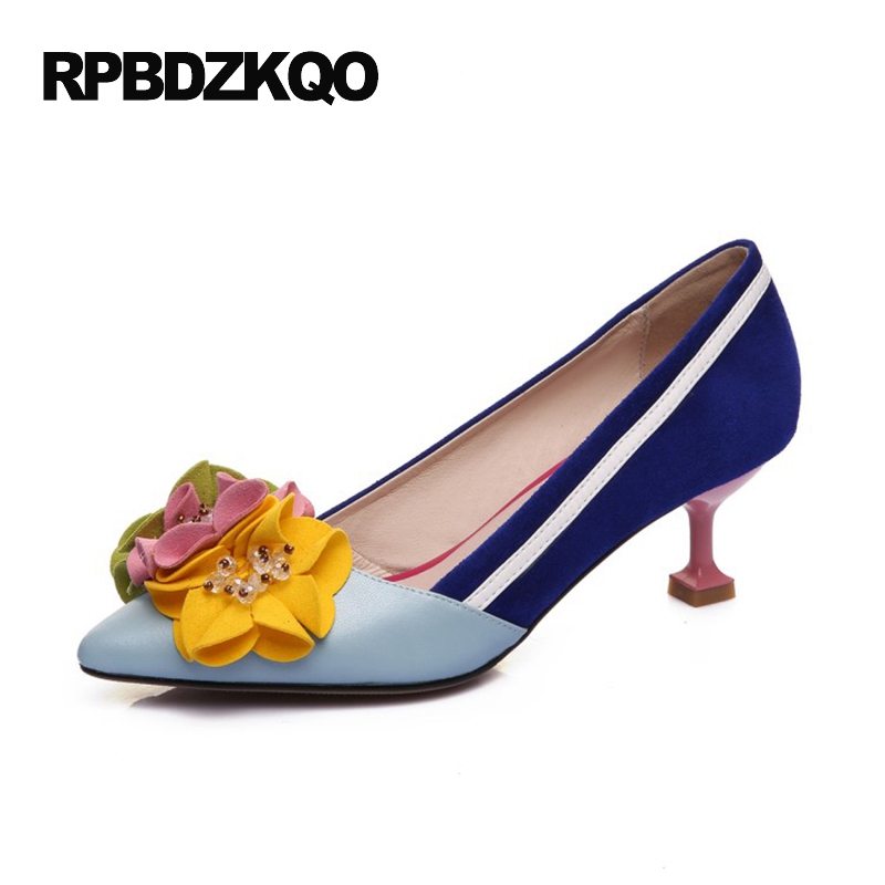 Strange Pumps Multi Colored Suede High Heels Stiletto Royal Blue Catwalk Colourful Flower Pointed Toe Floral Fashion Shoes 2017 pearl high heels shoes thick green women strange suede abnormal catwalk genuine leather pointed toe strap mary jane lace up