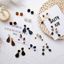 MENGJIQIAO 2019 Korean New Vintage Geometric Irregular Square Water Drop Enamel Asymmetric Earrings For Women Fashion Oorbellen