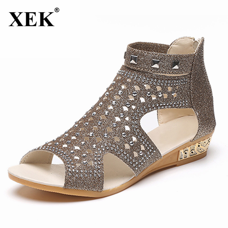 Sandals Women 2018 Casual Rome Summer Shoes Fashion Rivet Gladiator Sandals Women Sandalia Mujer  Sandalia Feminina JDD25 gktinoo 2018 summer gladiator sandals women rivet wedges fashion women shoes casual comfortable platform female sandal