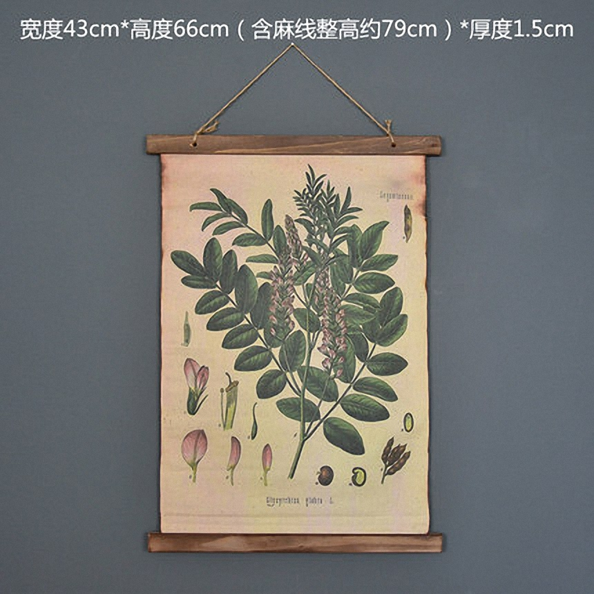 Large Retro Plant flowers Linen Cloth Painting Scrolls Poster Mural Paintings Banners Hanging Art Office Loft Ornament Wall