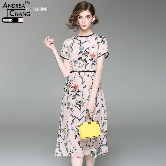 002d2822c96f2 US $99.92 |high quality spring summer woman dress colorful flower print  silk dress black lace collar waist cuff calf length pink silk dress-in  Dresses ...