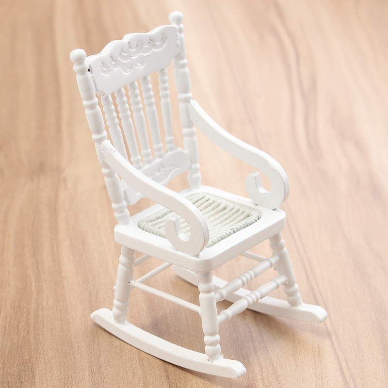 White Wood Rocking Chair B And M Garden Covers Mini 1 12 Dollhouse Miniature Furniture Wooden Hemp Rope Seat For Home Kids Gift Doll Toys Craft In Figurines Miniatures From