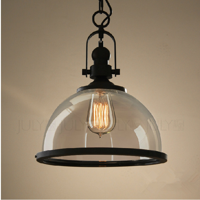 RH Pendant Lamp Loft Restaurant Bar American Vintage Retro Industrial Metal  Glass Pendant Lights Led Hanging Lighting Fixture