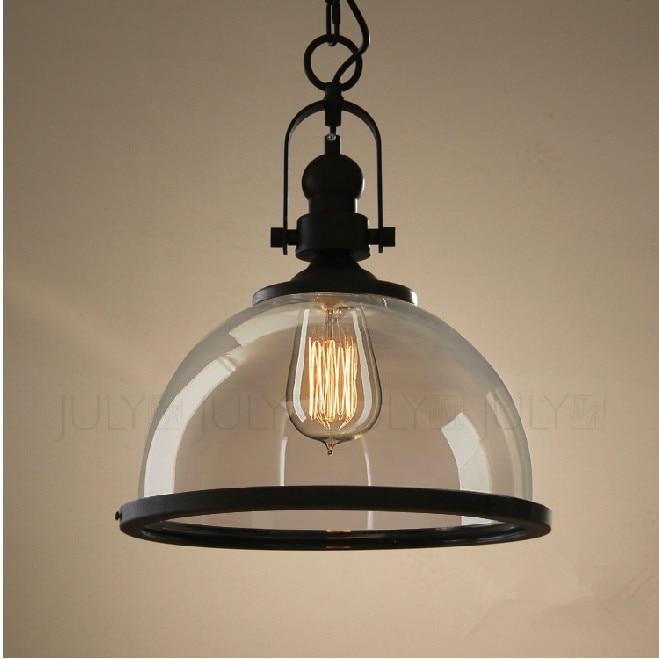 RH Pendant Lamp Loft Restaurant Bar American Vintage Retro Industrial Metal Glass Pendant Lights Led Hanging Lighting Fixture