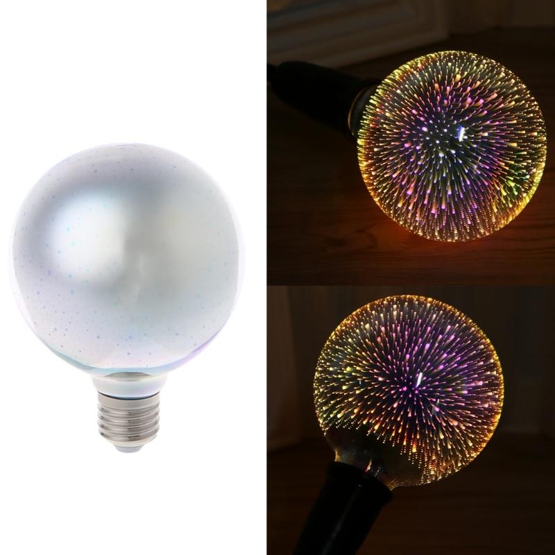 E27 <font><b>G95</b></font> Colourful 3D Star Shine Decoration Multiple Reflection Alluminum Plated Glass T15